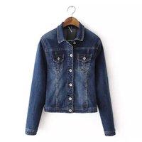 Cheap New 2015 Hot Autumn Winter Women Denim Jacket Ladies Slim Bodycon Short Long Sleeve Turn
