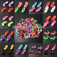 Wholesale 40 Pairs Different High Heel Shoes Boots Cloth Accessories For Barbie Doll order lt no track