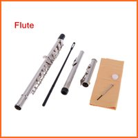 Wholesale High Quality Flute Silver Plated Closed Holes C Key Flute with Bag Popular Musical Instruments