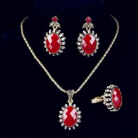 Wholesale Vintage Necklace Earrings Jewelry Sets Fashion Jewelry For Women Turkish Pieces Of Plated Gold Jewelry