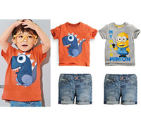 clothing manufacturers - Boy cartoon short sleeved denim shorts suit summer new Korean summer children s clothing manufacturers accusing
