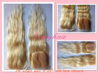 "Cheap high-quality brazilian Virgin three part silk base Lace Closure 4""x4"" Bleached Knots 10-24""body wave and 613#color hair hair extension"
