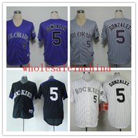 baseball strips - Baseball Jerseys Men ROCKIES GONZALEZ White Grey purple Strip Black Jerseys stitched Top quality Mix Order Free Fast Shipping