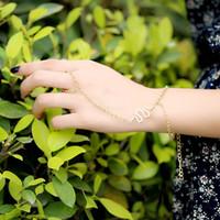 slave bracelets - Personality Fancy Jewelry Simple Snake Slave Chain Bracelet Ring Gold Hand Harness Tone Bangle Wrist Bracelets J0047
