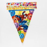 Wholesale 8 Styles Spiderman Mr Minions Cars Kid Frozen Birthday Party Supplies Decoration Supplies Flag Pennant Hang Flags Christmas Free DHL
