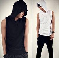 Wholesale 2015 New Fashion Korean Style Slim Mens Hoodies Casual Hoodie Sleeveless For Men Summer Casual soft Men Clothing Streetwear
