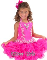 Wholesale Mini Halter Ruffled Little Baby Girls Cupcake Dresses Pageant Organza Ball Gown Beaded Crystals