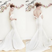 austin wedding dress - Austin Scarlett Bridal Spring Collection V Neck Cap Sleeve Mermaid Wedding Dresses White Stain Sweep Train Backless Bridal Gowns