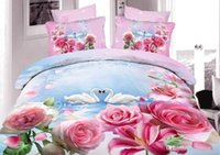 Wholesale Textile d oil painting piece set cotton slanting stripe cotton active three dimensional flowers duvet cover wedding