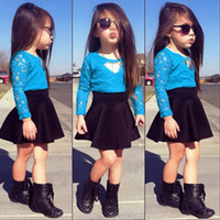 baby girl clothing sets - 2015 spring New Kids Baby Girls Long Sleeve Lace Tops Skirt Clothes Set Set Outfits