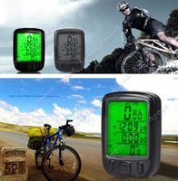 Wholesale Waterproof Bicycle Bike Cycle Wired LCD Digital Computer Speedometer Odometer Green LED Back light S0778