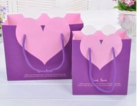 Wholesale 2014 new fashion Blue love portable gift paper bag The wedding back LiDai Jewelry shopping bags middle size