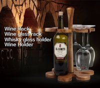 acacia wine - New Arrival Wine Rack Creative Acacia Wood Bar Beer Wine Holder Whisky Wine Glass Cup Bottle Holder Red wine glass Racks