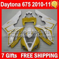 body kit - 7gifts Body For TRIUMPH Bodywork Daytona675 Q149 Yellow white Daytona Full Fairing Kit NEW Yellow