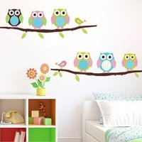 Wholesale Cartoon Cute Six Owl on Tree DIY Wall Sticke Wallpaper Stickers Art Decor Mural Kid s Child Room Decal Home Decoration