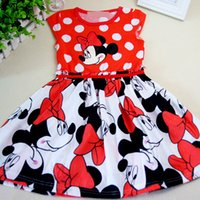 Winter Knee-Length 100% Cotton choose size new Child Clothing Baby Girls Dress Lovely Color Dot Mickey Mouse Minnie Dress for Summer lace flower girls dresses baby skirt