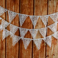 anniversary banners - Lace Flag Bunting Banner piece M Pennant Baby Shower birthday Anniversary Fashion Wedding Decorations