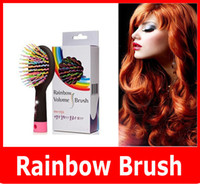 Wholesale Rainbow Comb Anti static Hair Brush Volume Massage Hairbrush With Mirror For Brazilian Indian Extension Human Wig Hair Tangle