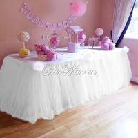 al por mayor bebé cumpleaños-2pcs / set Muchos colores TUTU falda de tabla Tulle Vajilla para la decoración de la boda Fiesta de la fiesta de bienvenida al bebé para crear un maravilloso país de las maravillas