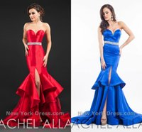 Wholesale Rachel Allan Mermaid Evening Dresses Sweetheart Beaded Sash Front Slit Tiered Formal Party Dresses Red Royal Blue Prom Evening Gowns