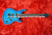 blue guitar - OEM Factory TOP quality Electric guitar Mayones with blue tiger flame top Through neck guitar