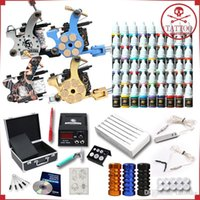 Wholesale Complete Tattoo Kit Machine Guns Ink Equipment Needles Power Supply D176GD