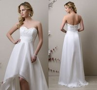 A-Line Reference Images Sweetheart 2015 High Low Backless Beach Cheap Wedding Dresses With Lace Appliques Chiffon A Line Summer China Made Girls In Stock Bridal Dress Gown