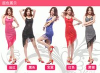 Wholesale 2015 Adult Latin Dance Clothes Sling Fringed Latin Show Skirt Tight fitting Costumes Tuxedo Dress Stage Dancewear A0462