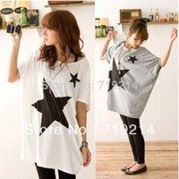 korea fashion blouse - Korea Fashion Loose Long Blouse Fashion Women s Loose Star Print Bat Short Sleeve T shirt Tops Blouse White Gray