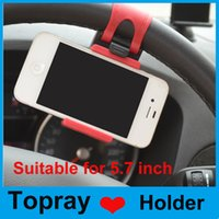 Wholesale Universal Car Steering Wheel Cradle Cellphone Holder Clip Car Bike Mount Stand for iphone mobile phone GPS