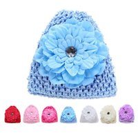 Wholesale Kids Infant Girl Baby Hat Caps Toddler Beanies Cotton Bonnet Children Accessories Flower Knit Crochet Warm Winter Beanie Hats