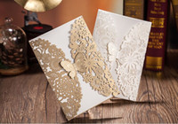 Wholesale Butterfly flower Laser Cut Wedding Invitations Personalized Customized Printing Wedding Invitations Cards New white gold color