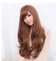 beauty bang bangs - Beauty Fashion Womens Oblique Bangs Wig Long Hair Curly Wigs Cosplay Synthetic Hair Black Brown Free Lace Wig Cap