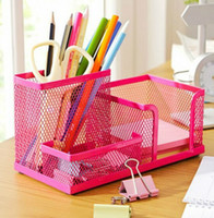 Wholesale The new metal mesh stationery Pen container creative multifunctional pen holder lattice study and office supplies