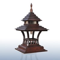 Wholesale Features handmade teak wood crafts table lamp floor lamps garden lights outdoor lighting residential living room