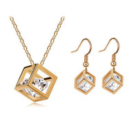 aqua frame - New Gold Plated Cubic Frame with CZ Love Cube Necklace Earrings and Necklace Set Clolrs