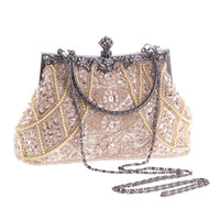 antique cell phones - European Fashion Antique Wedding Clutch Bags Gold Silver Sequins Long Chains Pearl Criss Cross Beading Evening Bags Hand Bag