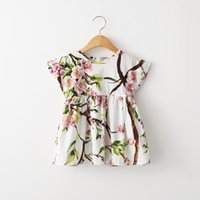 baby girl vintage clothes - 2015 Kids Girls Print Vintage floral Dresses Baby girl Summer Cotton ruffle princess dress babies clothes