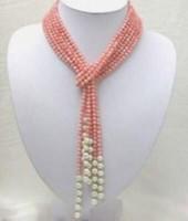 50 pouces Collier de perles d'eau douce de corail rose AAA