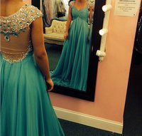 Cheap Real Picture 2014 Stylish Green Chiffon Beaded Crystal Evening Prom Dress V neck Cap Sleeves Sheer Back Long Formal Gown EM03575