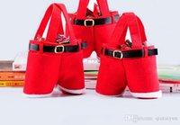 Wholesale Hot Santa Claus Pants Candy Treat Bag Cute Nylon Santa Pants Treat Candy Bags for Christmas Gift Red Bag Wedding Supplies