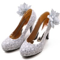 Cheap 4 inch High Heels Wedding Shoes Lady Formal Dress Flower Women's Shoes Fashion Dance Shoes Performances Prom Shoe DY238 Silver