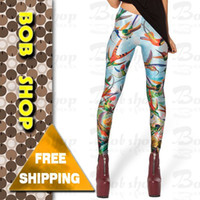 american apparel spandex - w1209 Bob shop LG612 spring new print punk american birds print apparel fitness legging women leggings black milk leggings