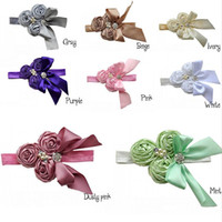Wholesale 2015 New Girl Hair Band Satin Rose Flower Rhinestone Ribbons Bowknot Fashion Hair Accessories Photograph props Baby Gifts