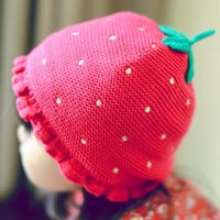 baby christmas hat knitting pattern - fashion Christmas Strawberry Wool Cap Children Caps Kid Boys Girls Knit Hat Patterns Autumn Kids Knitted Winter Caps Baby Crochet Hats