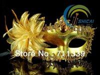 Wholesale Hot Masquerade Fancy Dress Eye Mask Party Prom Eyemask Feathers Colombina Venice Beaded Princess Mask Mixed color