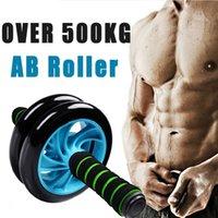 Wholesale 2015 NEW Merek baru tidak ada suara hijau roda perut Ab rol dengan tikar untuk peralatan latihan kebugaran