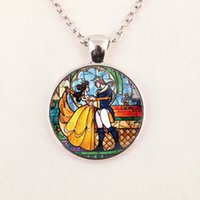 beauty beast pictures - Glass Picture Pendant Beauty and the Beast Necklace Rose Glass Pendant Art For Necklace glass Cabochon gemstone necklace