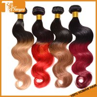 hair dye color - Ombre Hair Extensions Body Wave Brazilian Hair Weave Dip Dye Two Tone Color A Virgin Human Hair Wavy Weft Mix Length