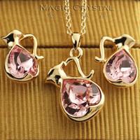 aquarius females - Italina Regent Korean Fashion OL Crystal Earrings Necklace Set cute female gift Aquarius